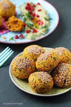 Süßkartoffel-Falafeln mit Avokado-Hummus #vegan #lowfat #rezept