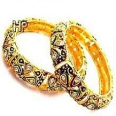 This is a pair of 22K Gold Plated Kadas (Bangles) which gives a very ethnic look to any outfit . This is a very high quality product suitable for all ages. The size of these kadas are 2.6 cm. These are a perfect gift for your loved ones.