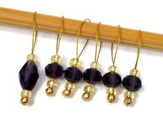 Knitting Stitch Markers Snag Free Violet Purple Gold by TJBdesigns, $7.50