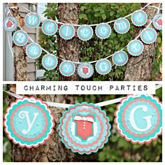 Girl Baby Shower banner / Welcome Baby Girl / decor/ coral and aqua, fully assembled and customizable. by CharmingTouchParties on Etsy