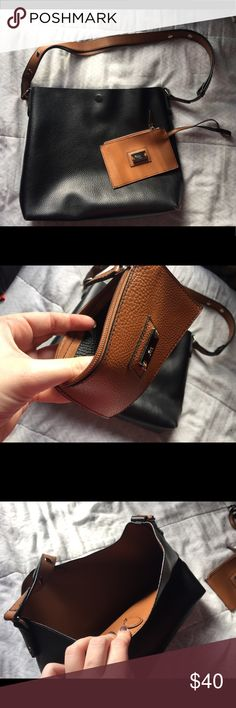 Style & Co Black leather purse Black and brown leather! Comes with cute little purse Style & Co Bags Shoulder Bags