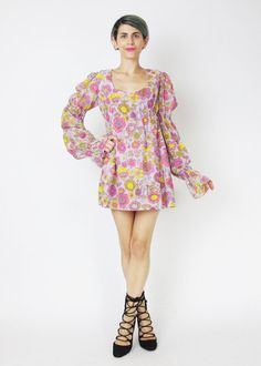 1960s Hippie Floral Mini Dress Young Edwardian by honeymoonmuse
