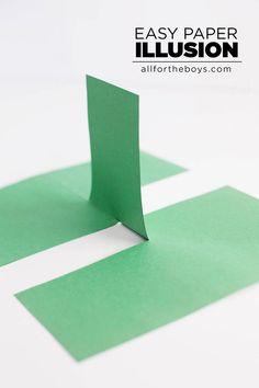 "Easy paper illusion, fun ""trick"" for the kids to impress their friends! Magic Tricks Videos, Magic Tricks For Kids, Optical Illusions For Kids, Magic Illusions, Illusions Mind, Art Optical, Science For Kids, Activities For Kids, Card Tricks"