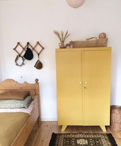 Pretty Natural Bedroom With A Yellow Mustard Wardrobe
