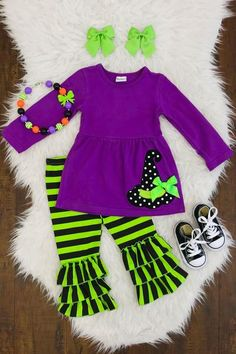 Purple & Green Witch Hat Boutique Set – Back to School Little Girl Outfits, Cute Outfits For Kids, Little Girl Fashion, Toddler Girl Outfits, Kids Fashion, Baby Girl Items, Cute Baby Girl, Girls Wardrobe, Dance Outfits