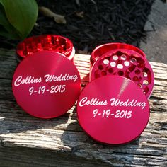 Custom Grinders really are great for any occasion! These Red Custom Grinders are our 55mm Multi-Tooth model. Both of these grinders are engraved with a customer selected message. If you are interested in creating your own Custom Grinder with ANY image, photo, artwork or text visit us at: www.customherbgrinders.com  #wedding #ideas #gifts #custom