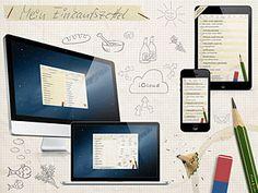 """Einkaufsliste – App. Für """"Design-Liebhaber"""" – Diese Einkaufsliste ist für dein iPhone, iPad und ab sofort auch für deinen Mac verfügbar. Schau mal auf deinem Mac in den """"App Store"""" und suche nach """"Einkaufsliste"""". Produkte aus dem integrierten Bestand hinzufügen (es sind über 2000 in 17 Hauptkategorien), nach Abteilungen deines Marktes sortieren und schon kann dein Einkauf los gehen. www.einkaufszettel-app.de"""