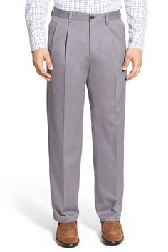 'Classic' Smartcare(TM) Relaxed Fit Double Pleated Cotton Pants