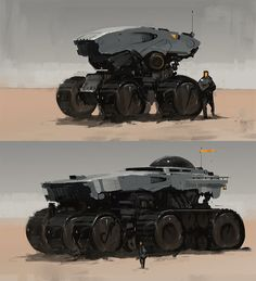 Looks like a Speedpaint of some futuristic vehicles by Fightpunch.