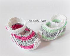 Gehaakte baby sneakers pasgeboren sneakers Baby door ROSSIBOUTIQUE