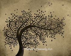 Whimsical Art | Whimsical Art Tree Wall Print, Curly Branches Blowing Leaves, 8 x 10 ...