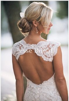 Custom Lace Wedding dress,Open back sexy classic lace wedding Dress Bridal Gown
