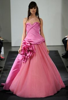 Petal, rose, coral, and peony, shades of pink in every degree, defined Vera Wang's bridal collection.