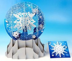 Christmas Greeting Card Pop-up 3-d Snow Globe Snowfall
