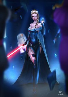 Elsa as Sith from Star Wars by raikoart on DeviantART Disney Pixar, Star Wars Disney, Art Disney, Disney Princess Art, Disney Kunst, Disney Stars, Disney And Dreamworks, Disney Love, Disney Memes