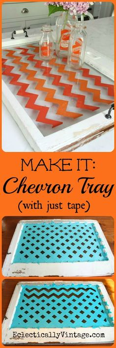 Make a Chevron Tray - learn how to paint chevron the easy way!  eclecticallyvintage.com