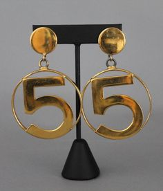 Chanel Vintage No. 5 Gold Hoop Clip on Earrings Rare & Collectable