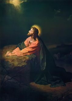 Christ in Gethsemane, Heinrich Hofmann - 1890 His halo in this piece bears resemblance to iconic paintings of Jesus.