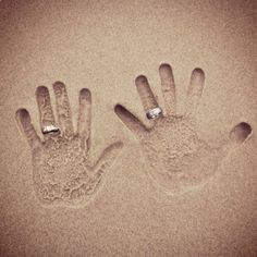 Our hands in the sand photo. Cute idea