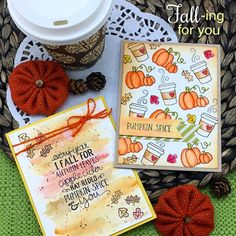 Fall-ing for You Stamp Set by Newton's Nook Designs Penny Black, Halloween Cards, Fall Halloween, Magenta, Autumn Coffee, Love Valentines, Valentine Cards, Thanksgiving Cards, Fall Cards