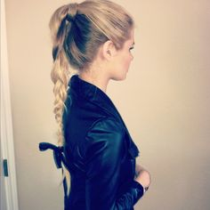 High ponytail braid with bow at end :)