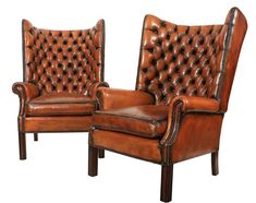 Pair of Library Barrelled Leather Wing Wingback Chair, Armchair, Library Chair, Leather Chesterfield, Farm Houses, Wing Chair, Antique Furniture, Sofas, Barrel