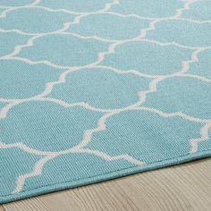 Outdoor-Teppich aus türkisfarbenem Stoff 120x180cm | Maisons du Monde