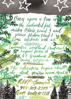 Enchanted Forest Birthday Party Greenery Stars & Trees. Fairies & Storybook Couture Handmade Stationery by: Pigment & Parchment