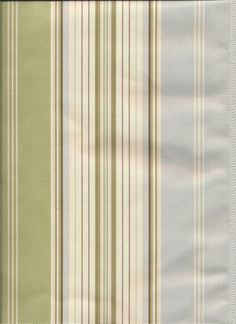 Down the Lane in Glacier : Pale Blue and Sage Green, Taupe Brown stripes for custom tier curtains, valances, draperies, pillows and bedding