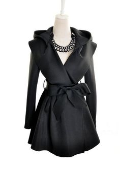 Chic Hooded Belted No-buttons Black Trench Coats