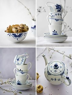 Gorgeous teacups with blue willow style art. Simple, elegant, and lovely accents for any kitchen area. These types of accents add the perfect amount of grace and purity to any room.