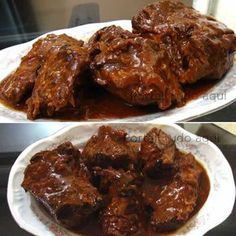 shoulder chops in olive oil, balsamic, whole grain mustard, garlic, rosemary. It's about to get serious. Brazillian Food, Meat Recipes, Cooking Recipes, Brazilian Dishes, Salty Foods, Carne Asada, Portuguese Recipes, Home Food, I Love Food