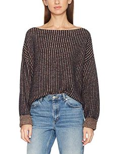 2813c0724a0 French Connection Women's Millie Mozart Solid Knits Cotton Sweaters,  Nocturnal, S