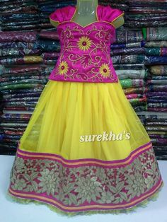 Yellow net lehenga with pink embroidered blouse Indian Dresses For Kids, Kids Indian Wear, Kids Ethnic Wear, Little Girl Dresses, Girls Dresses, Kids Dress Wear, Baby Dress, Kids Wear, Kids Lehenga