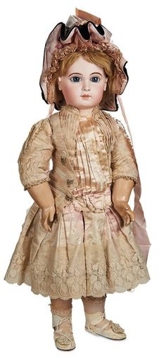 Outstanding French Bisque Bebe E.J., Size 16, Original Costume and Signed  Shoes 18,000/25,000