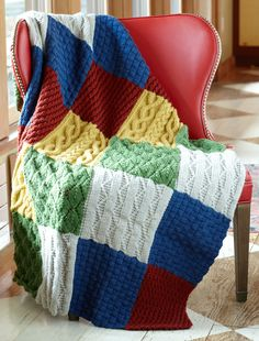 Throws are a highly functional knitting project; they add color to a room and are absolutely fantastic to snuggle with.  You'll get gorgeous texture and colors from this Patch Sampler Throw.