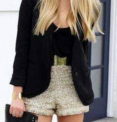 holiday outfit  #gold #sequin #shorts Gold Shorts, Sequin Shorts, Sequin Mini Dress, What I Wore, What To Wear, Glitter Girl, Red Carpet Looks, Holiday Outfits, Fashion Looks