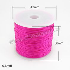 Cord Thread & Wire, Flat Crystal Elastic Cord, Magenta, Approx 0.6mm, 60 meters per spool, 25 spools per bag, Sold by bags