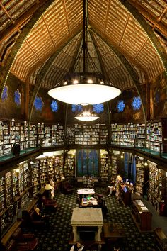 The Oxford Union Library, Oxford, United Kingdom -     On the walls are Pre-Raphaelites murals, painted by Dante Gabriel Rossetti, William Morris and Edward Burne-Jones. It also has a unique clerestory (Wikipedia will tell you all about it).