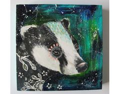 folk art Original Badger painting mixed media by thesecrethermit