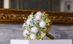 """Wedding Bouquet-""""ANDROMEDA""""-Bridal bouquet-Bouquet beads-Bunch of beads-Brooch bouquet crystals -Natural mink fur-Gold-Emerald-Amazing"""