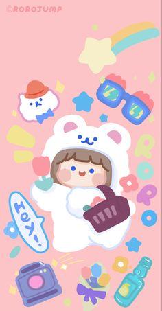 Cute Pastel Wallpaper, Cute Patterns Wallpaper, Kawaii Wallpaper, Wallpaper Iphone Cute, Aesthetic Iphone Wallpaper, Soft Wallpaper, Aesthetic Wallpapers, Cute Animal Drawings Kawaii, Kawaii Drawings