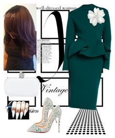 A fashion look from April 2015 featuring christian louboutin shoes, handbag purse and flower hair pins. Browse and shop related looks. Church Fashion, Work Fashion, Modest Fashion, Fashion Looks, Classy Outfits, Chic Outfits, Fashion Outfits, Womens Fashion, Woman Outfits
