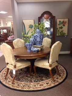 Thomasville Dining Group Featuring Blue And White Come See All Our Options In Homelike Settings Furniture Mall Of Kansas