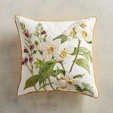 Pier 1 Imports White Daffodils Pillow - add a hint of spring to your decor Sofa Throw Pillows, Living Room Pillows, Cushions On Sofa, Accent Pillows, Decorative Throw Pillows, Cushion Embroidery, Floral Embroidery Patterns, Embroidery Art, Hungarian Embroidery