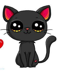 Schwarze Katze Black Cat Black Cat The post Black Cat appeared first on Animal Bigram ideas. Kawaii Girl Drawings, Cute Food Drawings, Cute Animal Drawings Kawaii, Cute Kawaii Animals, Cartoon Drawings, Cute Animals To Draw, Cute Drawings Of Animals, Drawing Animals, 365 Kawaii