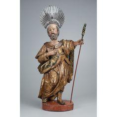 São Joaquim. Imagem de madeira policromada e dourada. Cajado de madeira e resplendor de prata.70 cm de altura.Brasil, séc. XVIII.