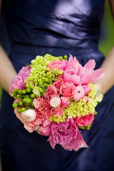 Pink and green bouquets featuring spray roses, green mini hydrangea, green hypericum, ranunculus, and peony.