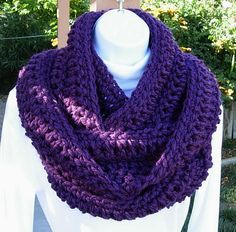 SCARF INFINITY LOOP Cowl..Solid Dark Purple..Extra by MicheleMade, $25.00
