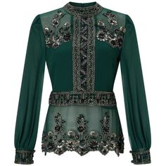 Miss Selfridge PREMIUM Green Grace Embellished Blouse (2.060 CZK) ❤ liked on Polyvore featuring tops, blouses, black, miss selfridge, embellished blouse, miss selfridge tops, green top and embellished top